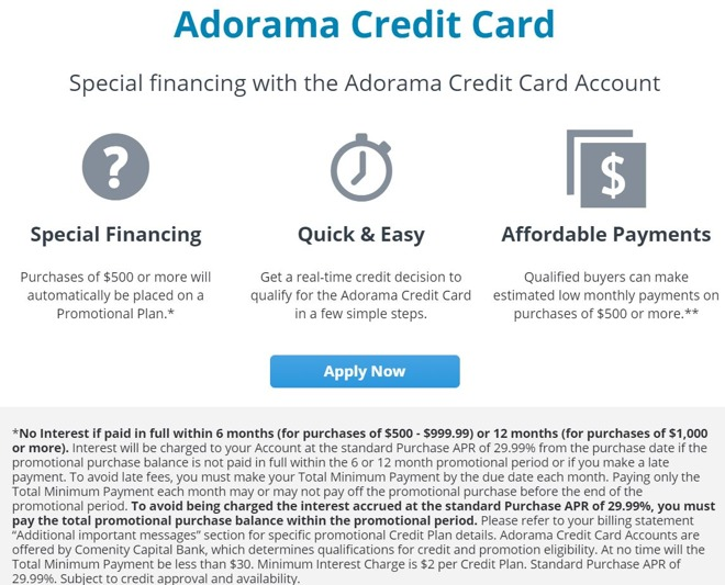 Adorama Credit Card financing incentive