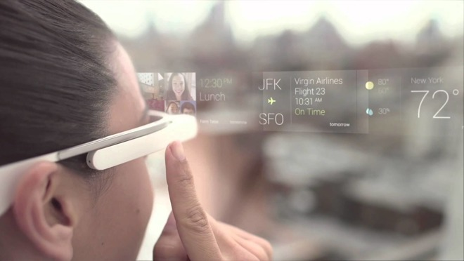 An example of how Google's early AR-like Glass headset offered users data