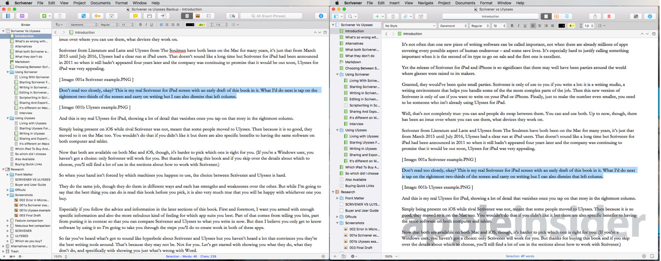 Left, Scrivener 2; Right, Scrivener 3