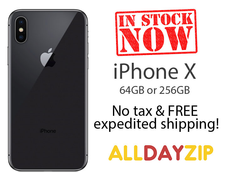 iPhone X in Space Gray with in stock now badge