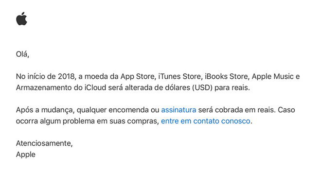 Apple to transition Brazilian iTunes sales to local currency
