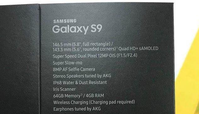 Galaxy S9' packaging leak hints at single rear camera sensor