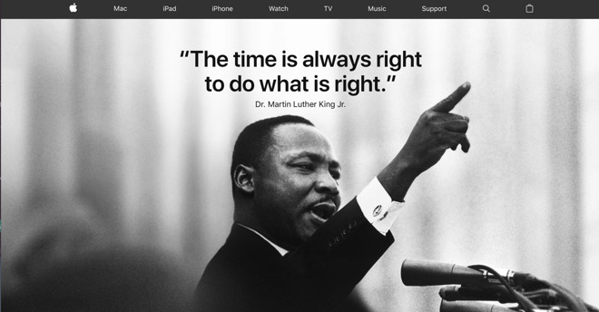 Apple Ceo Tim Cook Apple Homepage Honors Dr Martin Luther King Jr