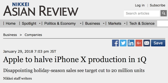 Nikkei dissapointed by strong sales of iPhone X
