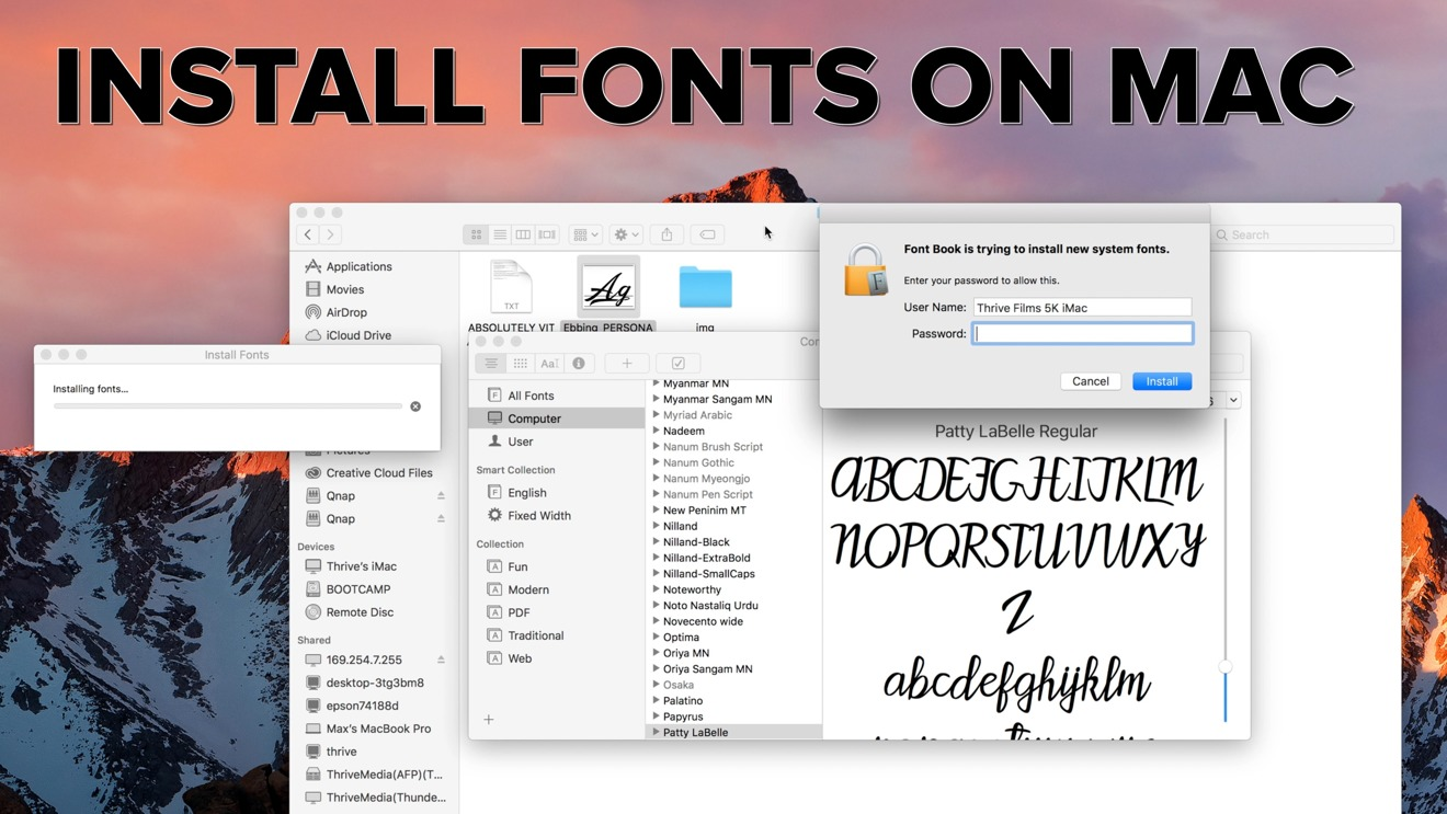 How to install fonts on a Mac and make them available to all users