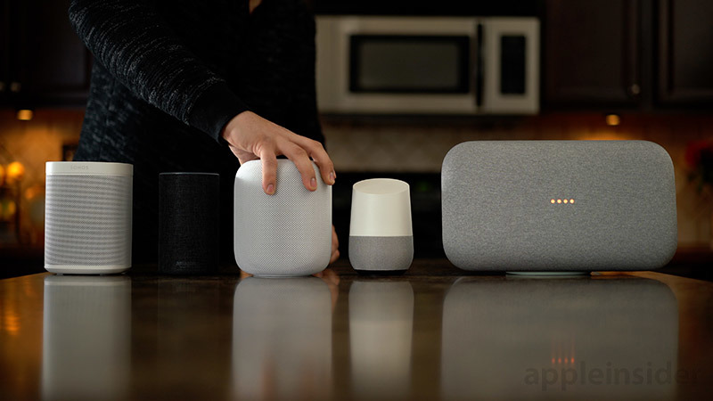 Apple HomePod Sonos One Google Home Max side by side