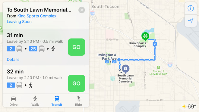 Apple Maps transit directions come to Tucson, Arizona