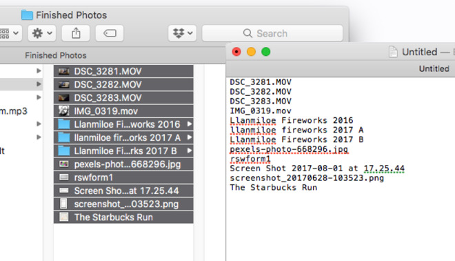How to create a list of all the files inside a macOS directory in