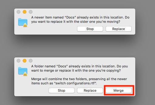 How to combine folders in macOS using the hidden Merge