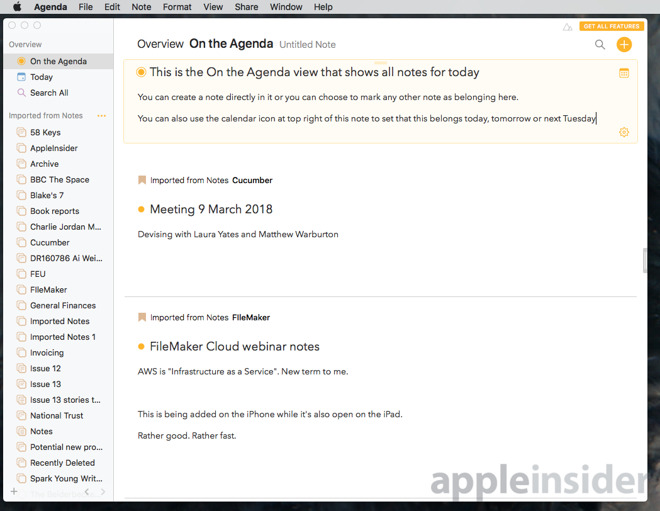 Hands on: Agenda 2 0 for Mac is a beautiful new notes app with