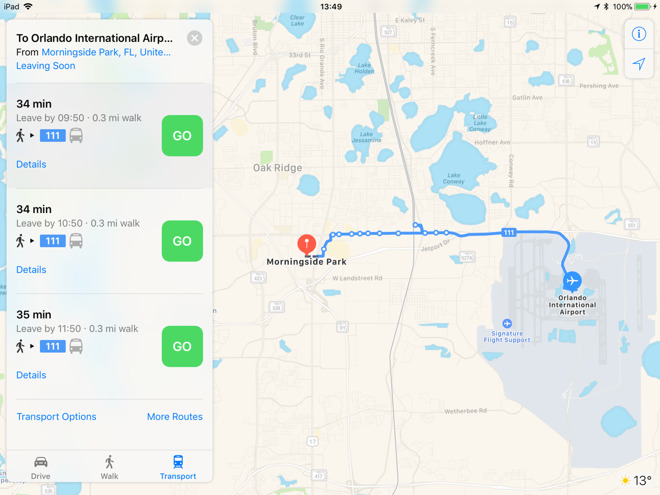 Apple Maps Adds Transit Information Covering Orlando Fl