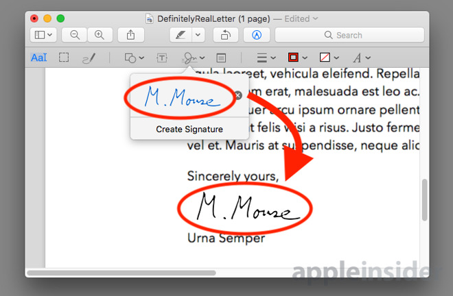 Add signature to pdf mac