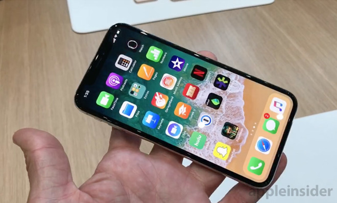 Apple's iPhone X equipped with an OLED display