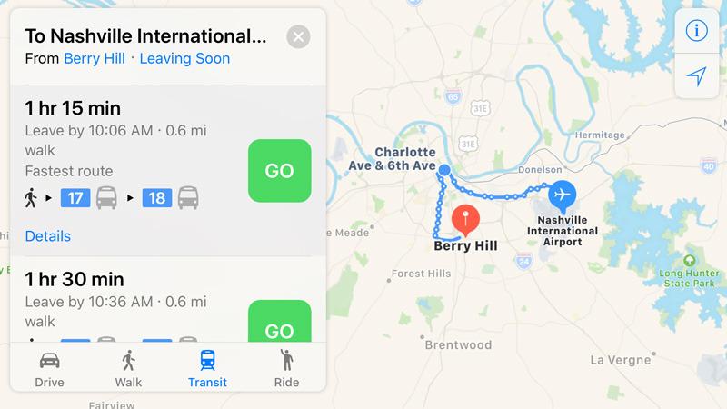 Apple Maps in Nashville