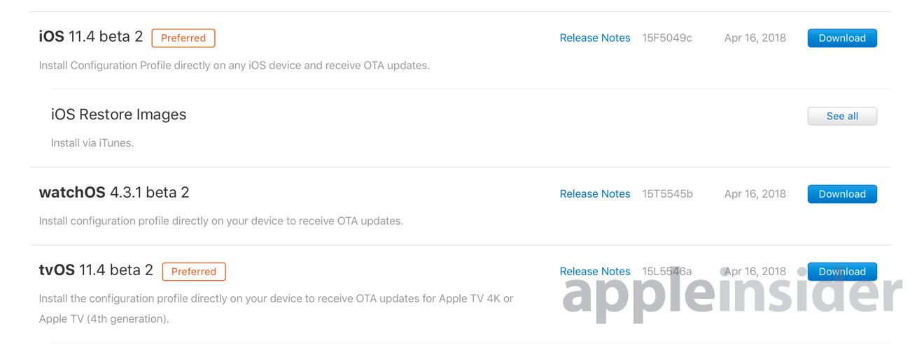 iOS watchOS tvOS beta Apple