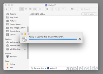 How to use another computer's DVD drive across a network with macOS
