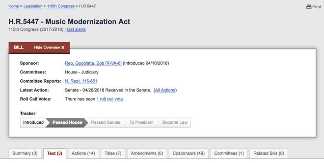 Legislative Action Alert From Mac >> Music Modernization Act Will Alter How Old Recordings Are Reimbursed