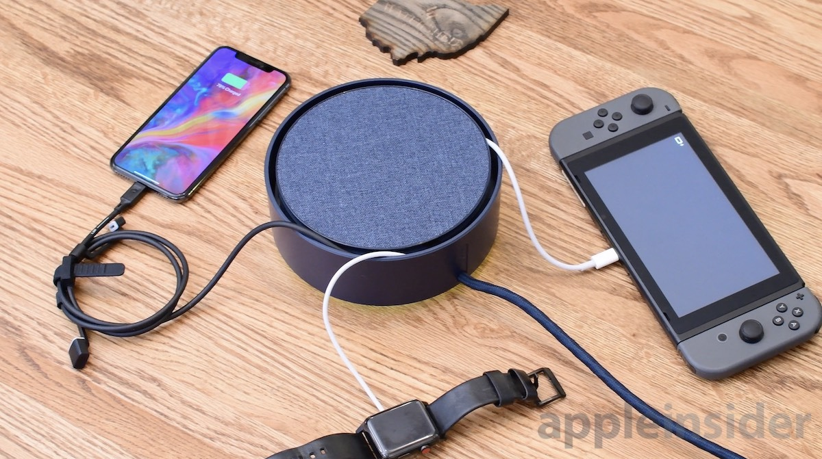 Eclipse Charger with iPhone, Nintendo Switch, and Apple Watch