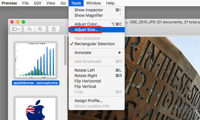 resize images preview macos batch photos