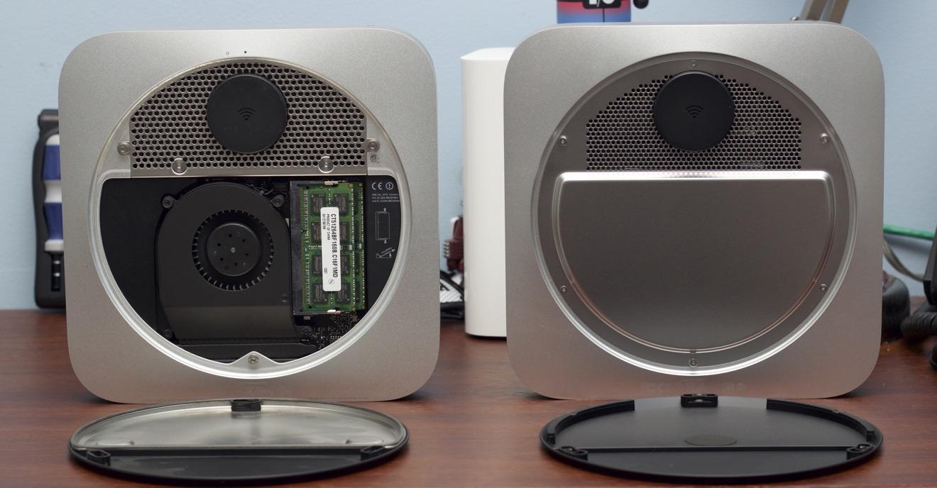 Left, 2012 Mac mini. Right, 2014 Mac mini