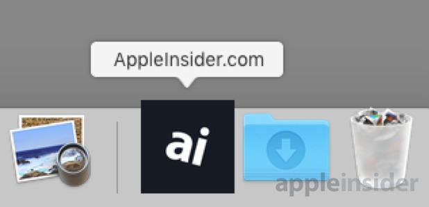 Create website shortcut mac dock