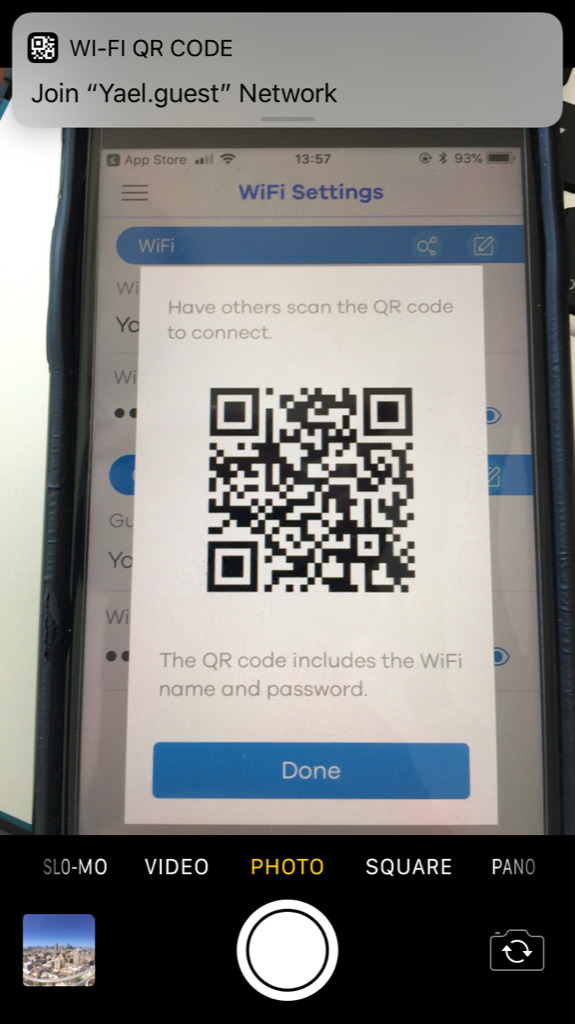Wi-Fi settings recognized by QR code. Impressive.