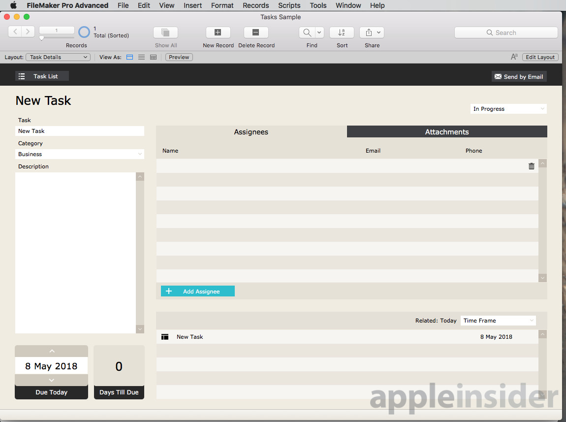 FileMaker Tasks Sample