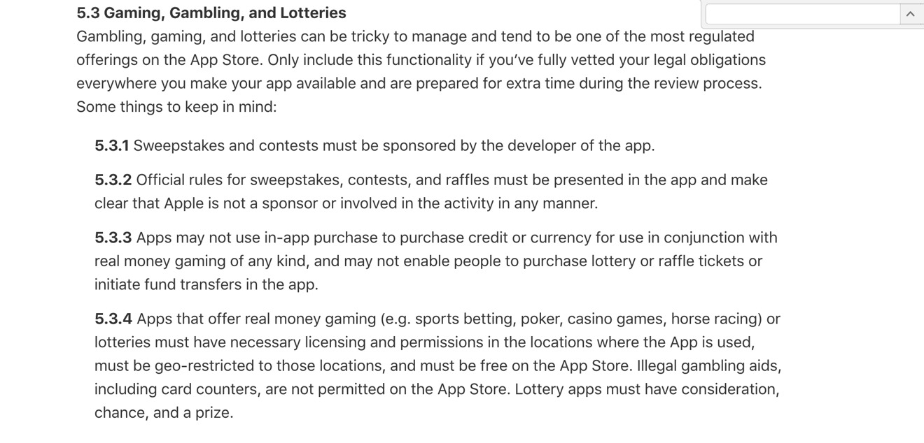 The App Store's guidelines when it comes to gambling