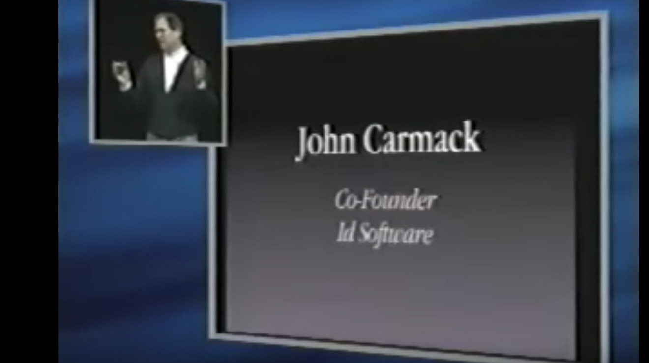 Jobs introduces Carmack in 1999