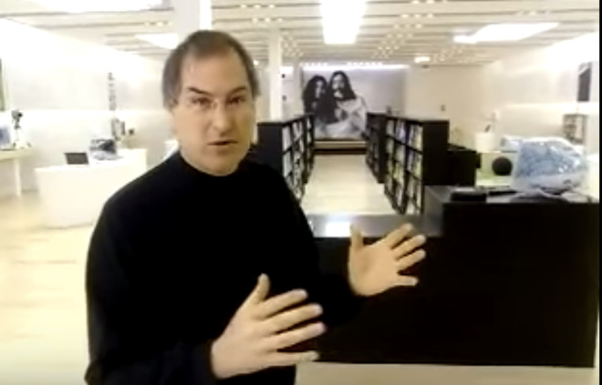 Steve Jobs shows the first Apple Store in 2001
