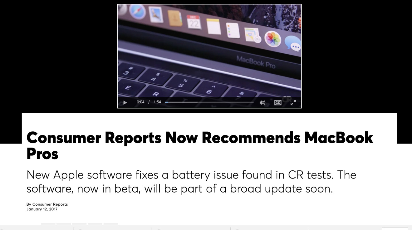 Consumer Reports' 2016 MacBook Pro assessment