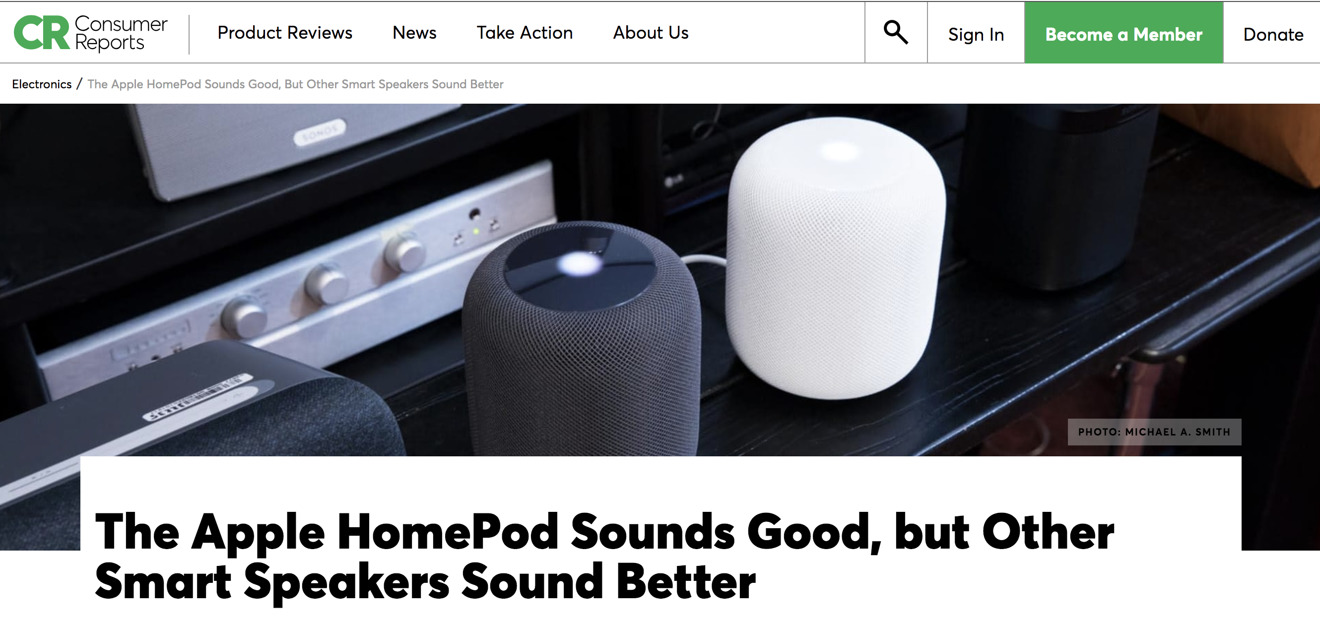 Consumer Reports' first look at the Homepod in early 2018