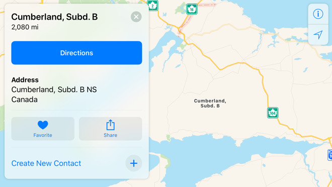 Apple Maps mislabeling locations in rural Canada on