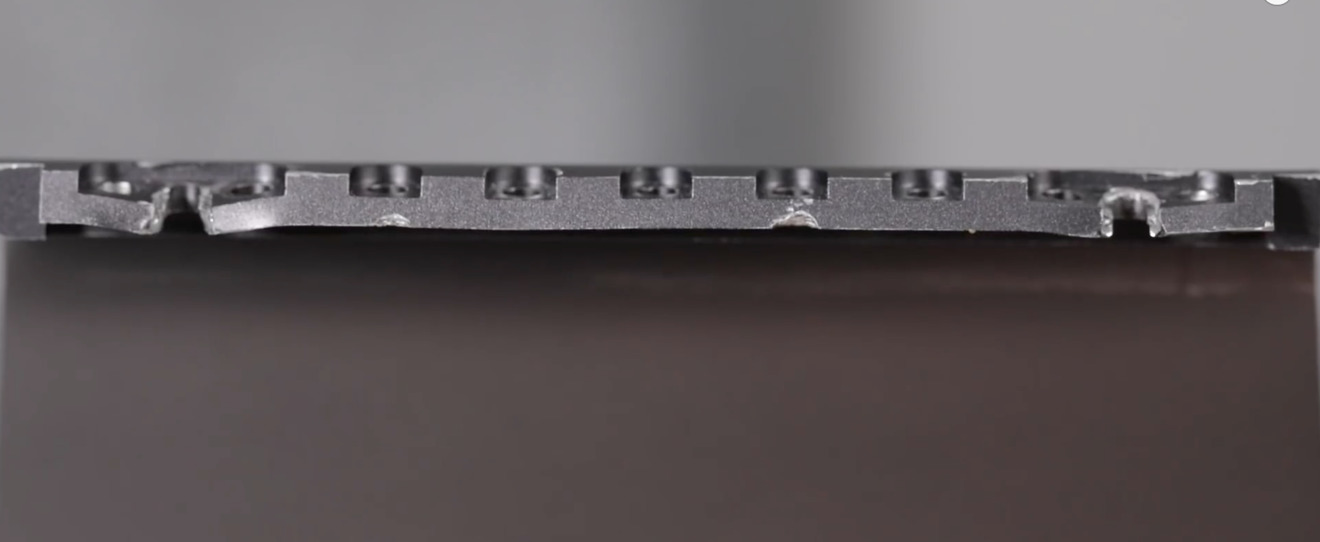Damaged iMac Pro stand after the Genius Bar repair