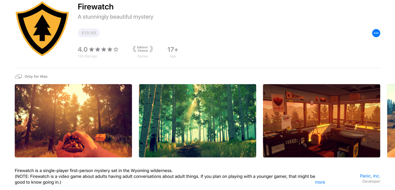 Firewatch on the Mac App Store
