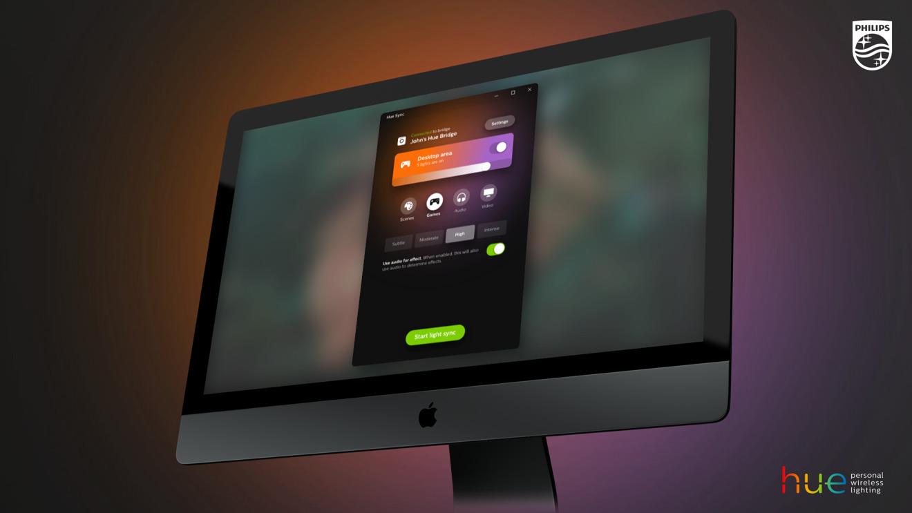 Hue Sync App on iMac