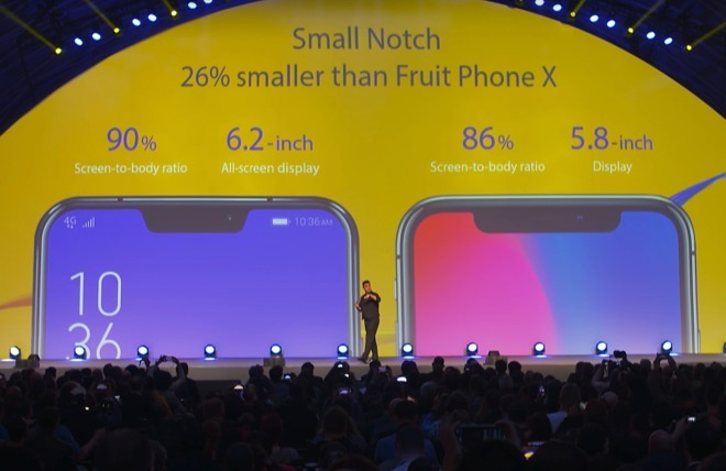 A notched smartphone, introduced at MWC in 2018