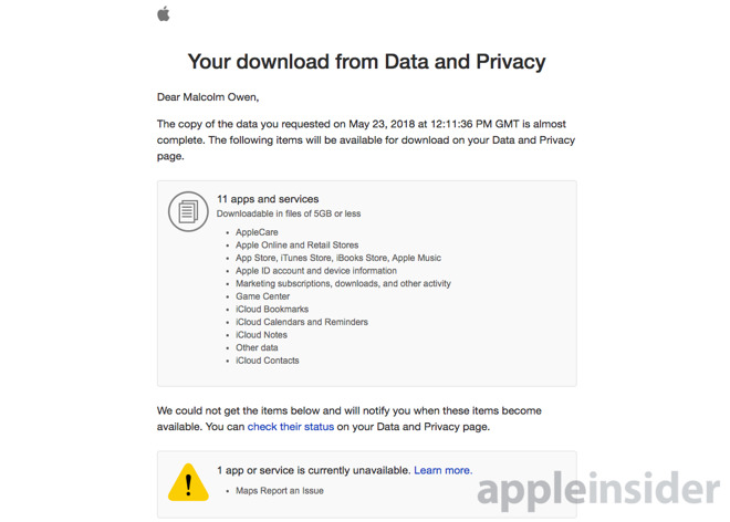 Here is all of the data Apple has about you
