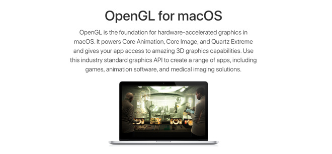OpenGL, OpenCL deprecated in favor of Metal 2 in macOS 10 14 Mojave