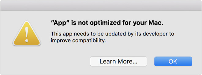 Warning: App is not optimized
