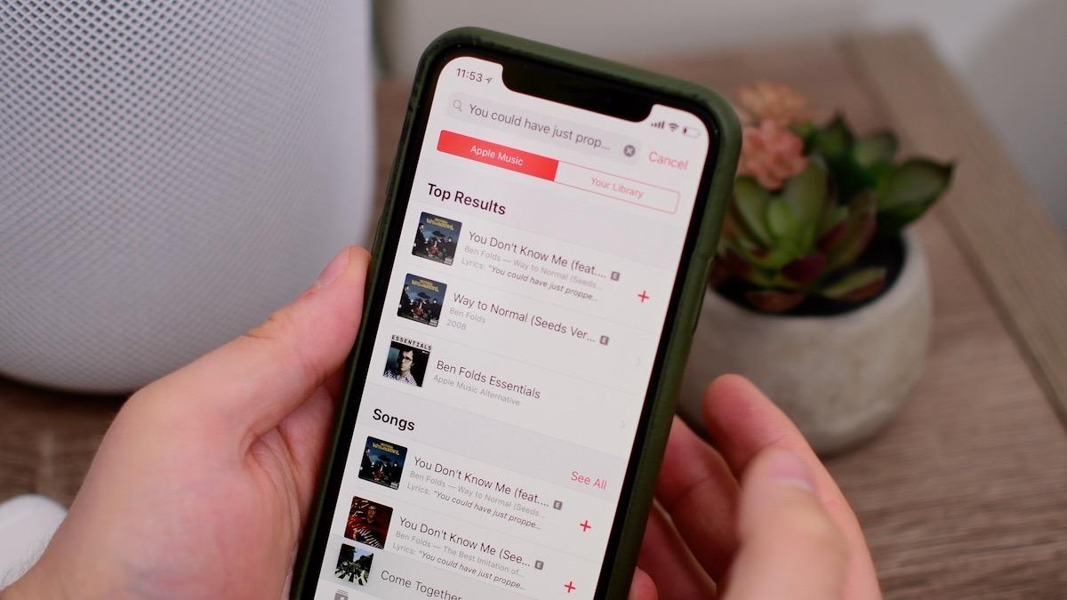 iOS 12 Apple Music lyric search