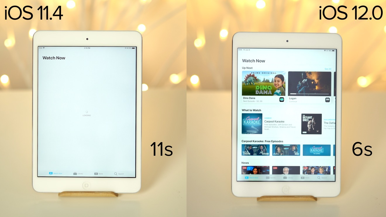 TV app launch times on iPad mini 2
