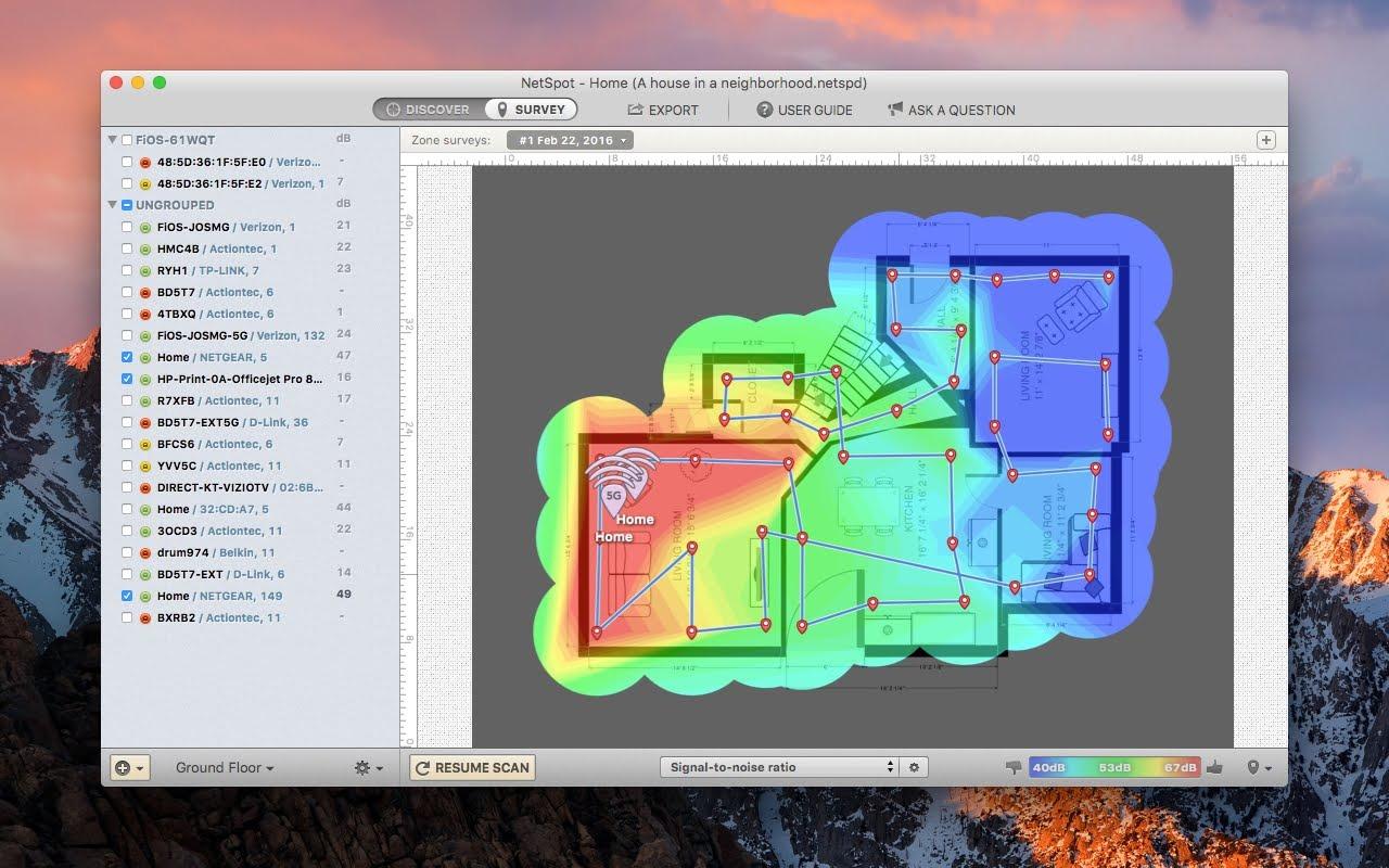 Sample NetSpot Wi-Fi map of a small house