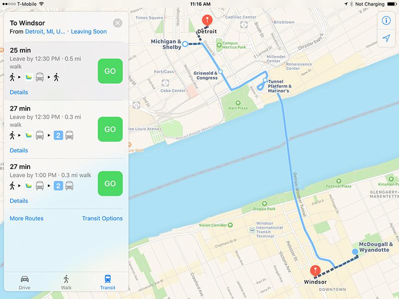 Apple Maps Detroit and Windsor