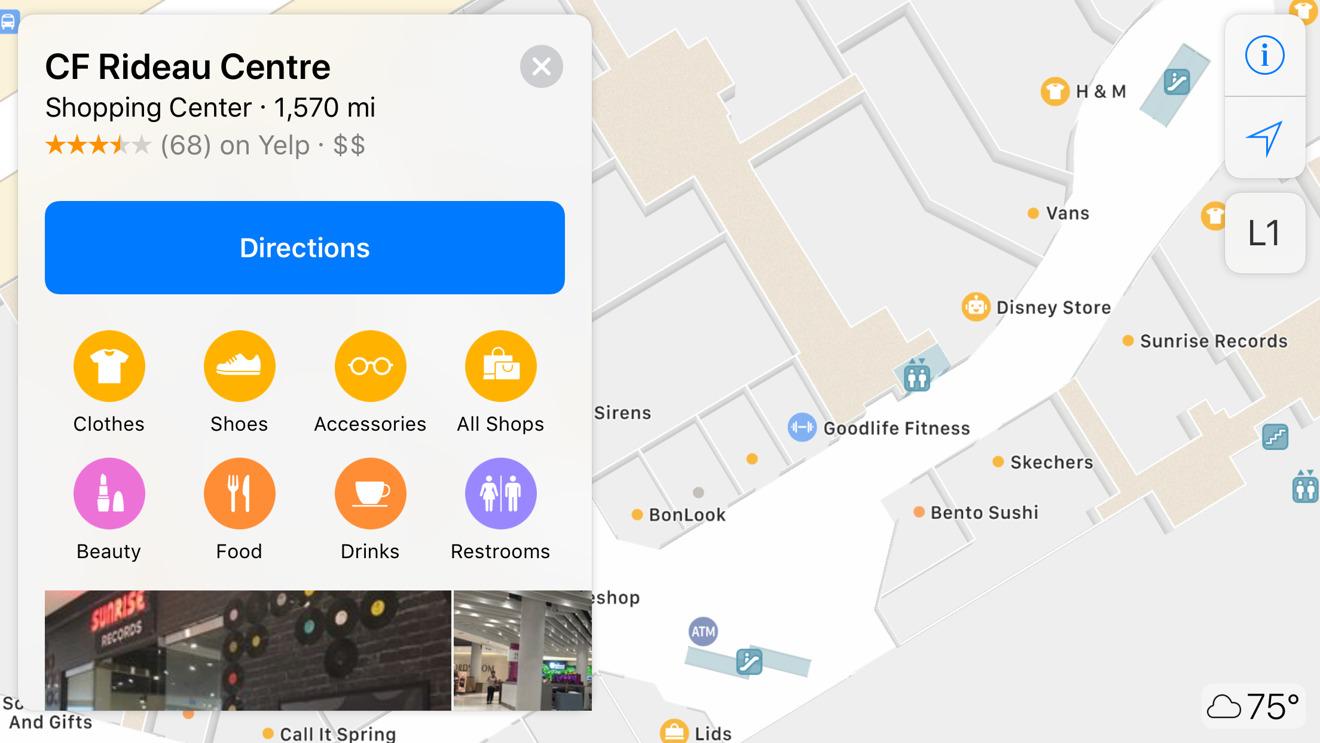 Apple Maps Rideau Centre