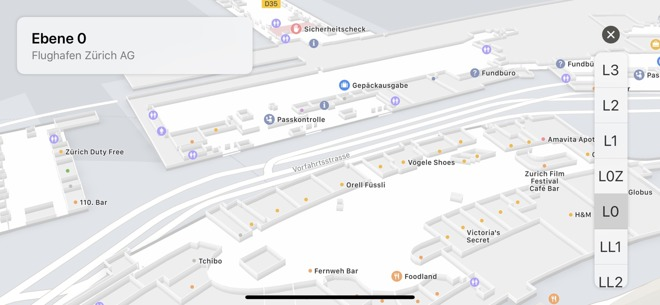 Apple Maps Zurich Airport