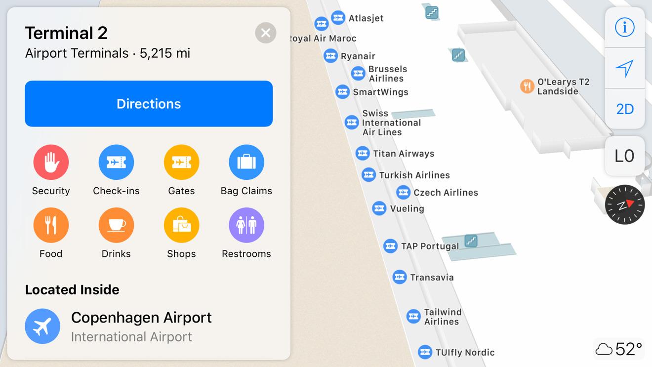 Copenhagen Airport in Apple Maps