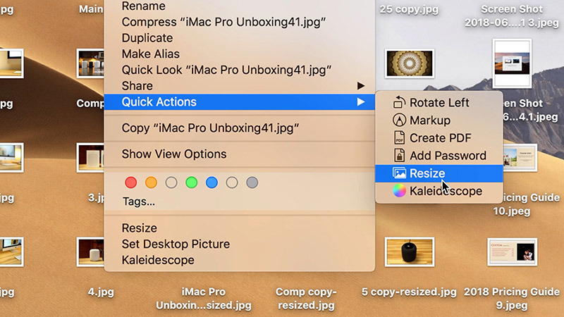 Mojave Quick Actions