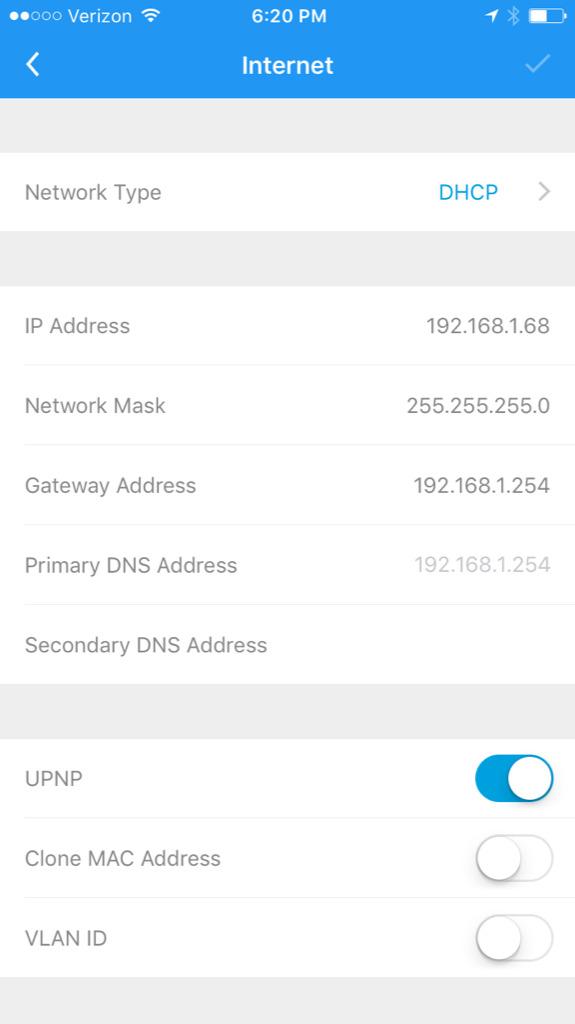 DHCP settings