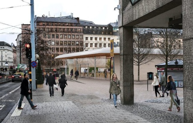 One of Apple's renderings of the proposed Stockholm location.